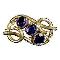 Large English Victorian Amethyst Love Knot Brooch