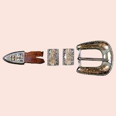 Vintage Sterling Silver and Gold 4 Piece Belt Buckle Set