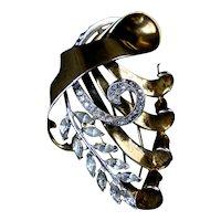 Dramatic Big & Bold Retro Rose Gold Vermeil Fur Clip Pin
