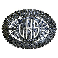 Art Deco Large Sterling Marcasite Pin Brooch