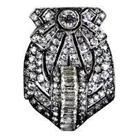 Sparkling Art Deco Sterling Paste Dress Clip Pendant