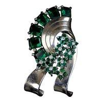 Impressive Retro Pennino Silver & Green Brooch