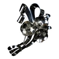 Large, Dimensional Retro Sterling Bouquet Pin