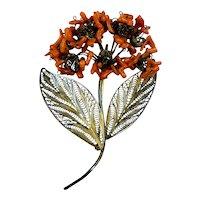 Huge Retro Coral Vermeil Filigree Flowers Pin Brooch