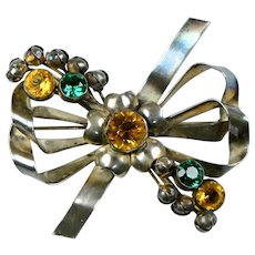 Imposing Hobe Retro Sterling Jeweled Bow Pin