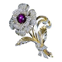 Captivating Large Retro Sparkly Flower Pin Brooch