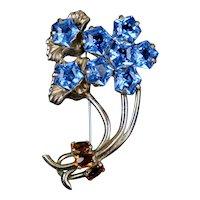 Large Retro Blue Crystal Flower Pin Brooch