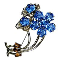 Magical Large Retro Blue Crystal Flower Pin Brooch