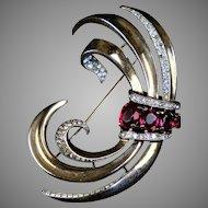 Retro Crown Trifari Vermeil Sterling Pin
