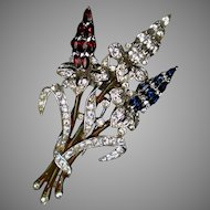 Crown Trifari Rhodium Spray Bouquet Pin