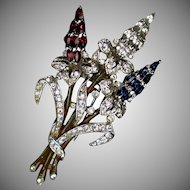 Crown Trifari Rhodium Spray Bouquet Pin