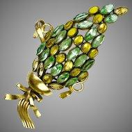 Stunning Large Aqua & Citrine Crystal Pin
