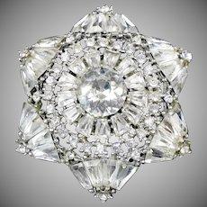Huge Sparkling Rhodium Starburst Pin