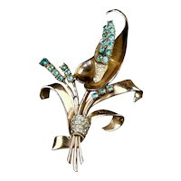 Glamourous Coro Craft Sterling Vermeil Flower Pin