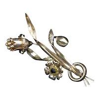Striking Designer Rose Gold Vermeil Flower Pin