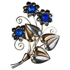 Huge Retro Sterling & Rose Gold Vermeil Flowers Pin Brooch
