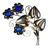 Huge Retro Sterling & Rose Gold Vermeil Flowers Pin
