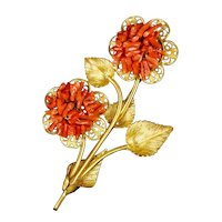Huge Retro Coral Gold Flowers Pin Brooch