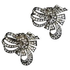 Outstanding Pair Art Deco Sterling Paste Fur Clips Pins
