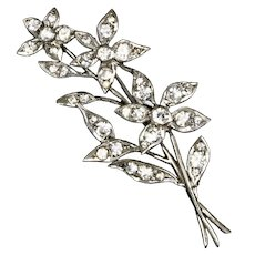 Art Deco Sterling Paste Flower Spray Pin