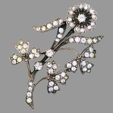 Sparkly Art Deco Sterling Paste Flower Spray Pin