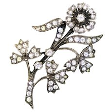 Sparkly Art Deco Sterling Paste Flower Spray Pin