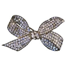 Exceptional French Art Deco Sterling Paste Bow Pin