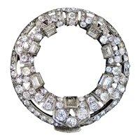 Elegant Art Deco Sterling Crystal Dress or Scarf Clip