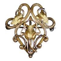 Intricate Art Nouveau Gold Filled Watch Pin