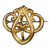Flowing Art Nouveau Chased Gold Filled Watch Pin