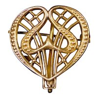Striking Art Nouveau Chased Gold Filled Double Heart Watch Pin