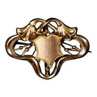 Detailed Art Nouveau Gold Filled Watch Pin