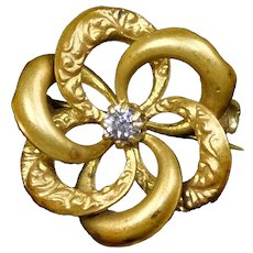 Victorian Small Interlocking Rings Flower Scatter Pin
