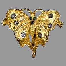 Rare Art Nouveau Gold Filled Butterfly Watch Pin