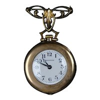 Art Nouveau Gold Filled Watch Pin with Waltham Watch