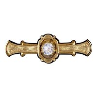 Victorian Rose Gold Bar Pin with Sparkly Paste Stone