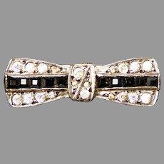 Petite Art Deco Sterling Blue & White Paste Bow Pin