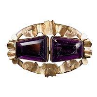Victorian Rose Gold Filled Amethyst Crystal Pin Brooch
