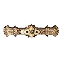 Victorian Intricately Chased Gold Front Bar Pin