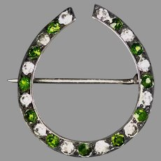 Small Victorian Sterling Silver Paste Horseshoe Pin