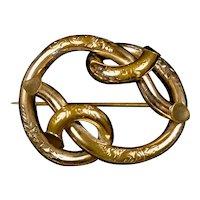 Unique Antique Gold Filled Love Knot Brooch