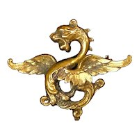 Exceptional Victorian Mythological Creature Gold Filled Watch Pin