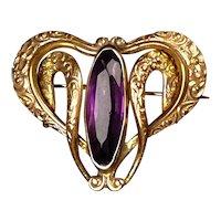 Special Art Nouveau Amethyst Crystal Watch Pin