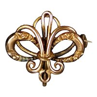 Lovely Art Nouveau Chased Gold Filled Watch Pin