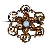 Petite Art Nouveau Opal Rose GF Scatter Pin