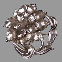 Alluring Art Nouveau Sterling Silver Flower Watch Pin