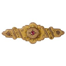 Special Victorian 2-Color 9ct Gold Bar Pin