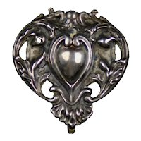 Romantic Art Nouveau Sterling Silver Heart Watch Pin