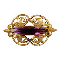Dainty Art Nouveau Rolled Gold Amethyst Crystal Pin