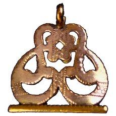 Art Nouveau GF Openwork Seal Pendant Charm